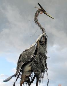 Scraptors heron sculpture